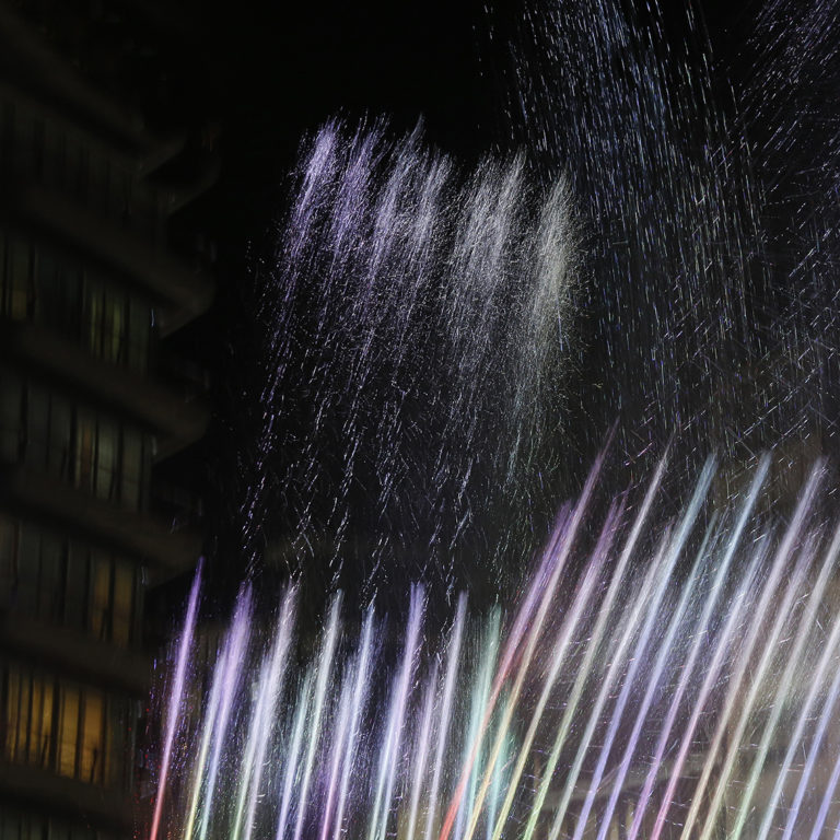 Abstract photography, night, water, fountain
